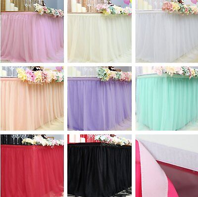 Fluffy Tutu Table Skirt Tablecloth Skirting Tulle Tableware For Party Home - Tulle Table Skirt