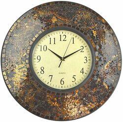 Lulu Decor, 19 Amber Crush Mosaic Wall Clock, Arabic Number Dial 9.5