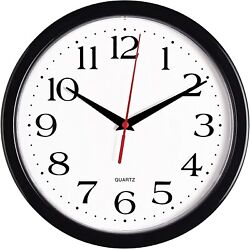 Silent Wall Clock Round Non Ticking Quality Quartz Battery Operated Black 10
