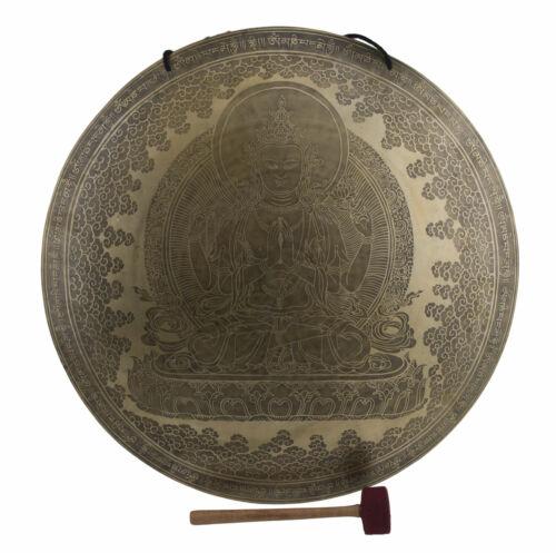 Gong Tibetan Chenrezig Mantra 7 Metals Hammered Ø 24 3/8in 11lbs100 Nepal 26764