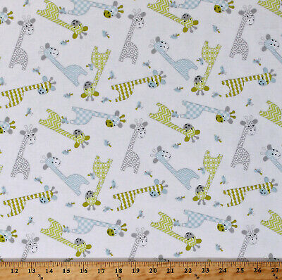 Flannel Giraffes Birds Baby Jungle Animals White Flannel Fabric by Yard D283.17
