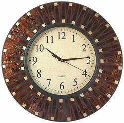 Lulu Decor, 16 Amber Dot Mosaic Wall Clock with 9.5 Glass Dial
