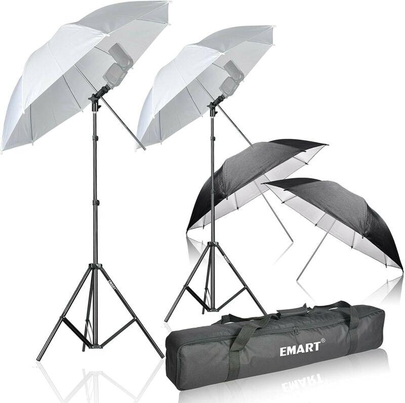 Emart Photo Studio Double Off Camera Speedlight Flash Umbrella Kit, Shoemount E