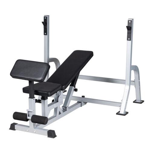 Weight Bench Press Set Adjustable Incline Decline Bench Barbell Squat Rack