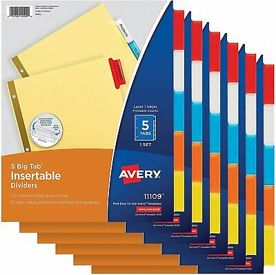5 Tab Dividers For 3 Ring Binder - 6 Pack
