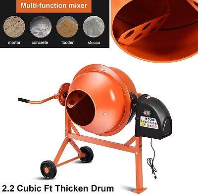 Concrete Mixer Electric Cement Mixers Portable 2 15 Cubic Ft Drum Mortar Orange