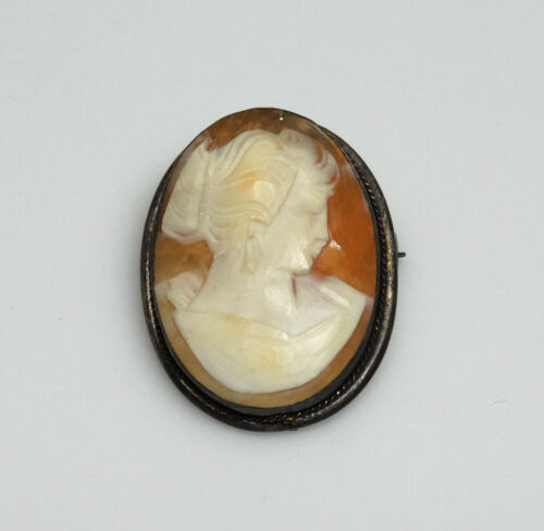 ELEGANT Vintage Carved Genuine Shell Cameo Victorian Lady Brooch/Pendant- SIGNED