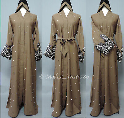 Dubai Open Pearl Abaya Kimono Cardigan Muslim Women Maxi Dress Light Coffee