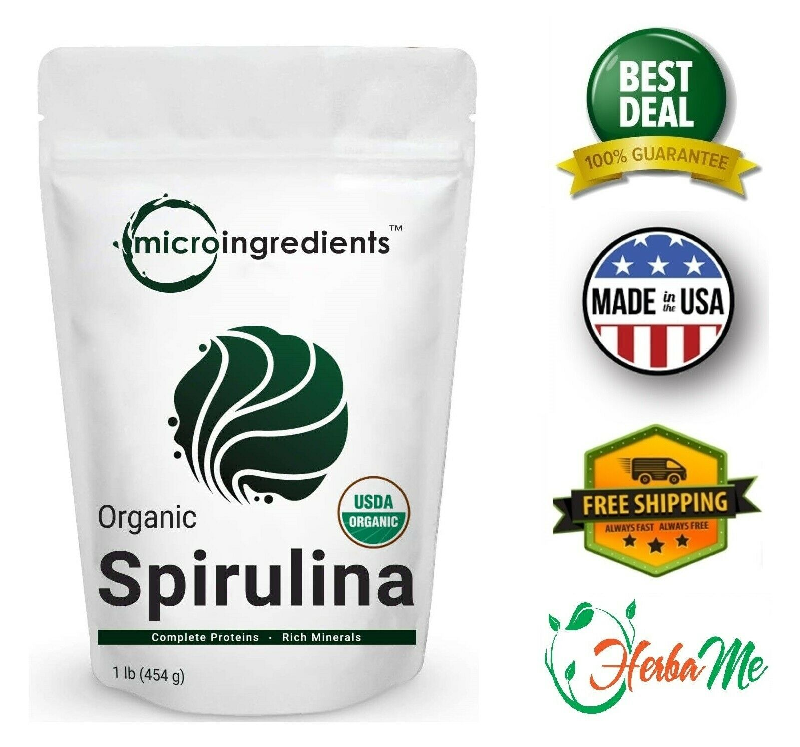 Organic Spirulina Powder 16 Oz Rich in Antioxidant Minerals Fatty Acids Fiber