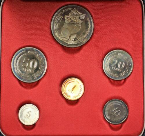 1967 Singapore 6 Coins Gem Proof Set Original Packaging New Issue