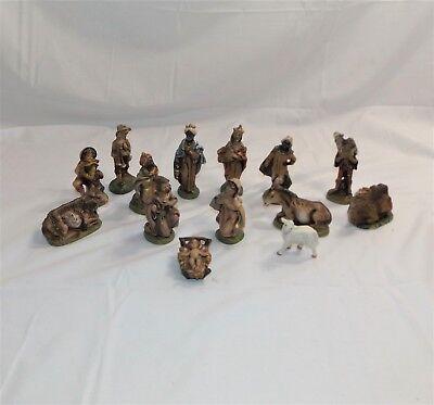 Nativity Pottery Figurine Set (Vintage 13 Piece Clay Pottery Nativity Set Figurines, Christmas Decor, MI)