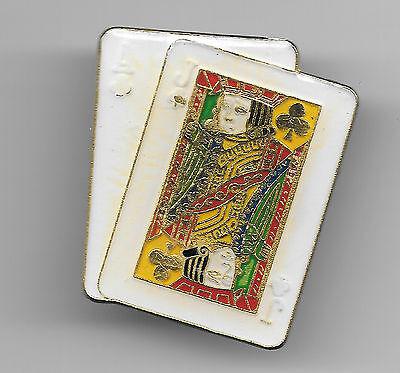 Vintage Blackjack Hand in Clubs in gold lettering old enamel pin