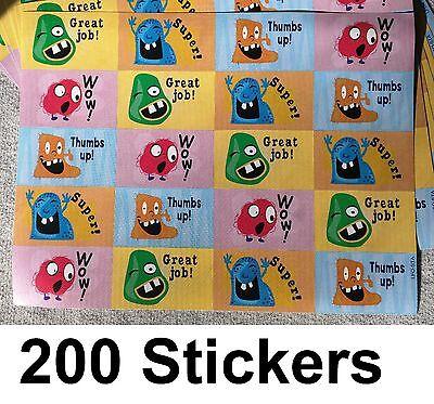 200 Cute Reward Monster Sticker Teacher Praise School 10 Sheets Great Job a1