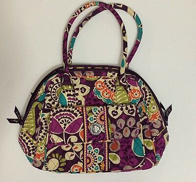 Vera Bradley ~ Turnlock Satchel ~ Plum Crazy Pattern ~ Excellent Condition