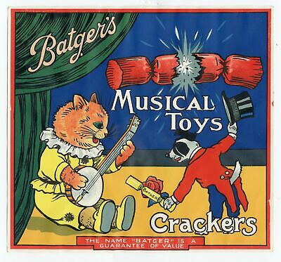 Antique, Unused Batger's MUSICAL TOYS CRACKER LABEL ONLY, Dog, Cat