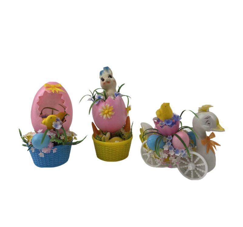 Vintage Easter Decorations Plastic Felt Bunny Chicks Eggs Basket Cart 3 Pc Set