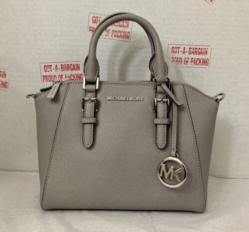 Michael Kors Ciara Pearl Grey Leather Medium Messenger Satch