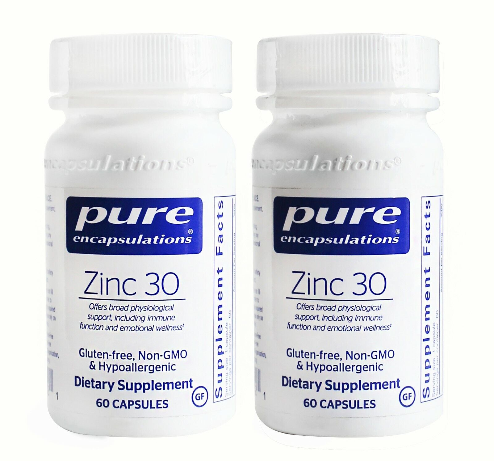 2 Bottles Pure Encapsulations Zinc 30 Dietary Supplement 120 Capsules 4/2023