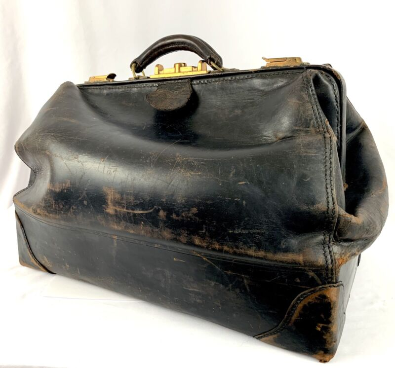 Antique Leather Doctors Bag Travel Duffel Case Black Distressed Brass Latch Vtg