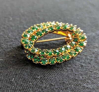 Emerald Colored Rhinestones Double Oval Pin Brooch 1.5 Inches Safety