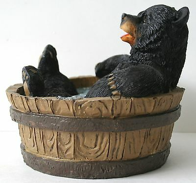 Bathtub Bear Figrurine Black Bear Comic Wildlife Home decor NEW !