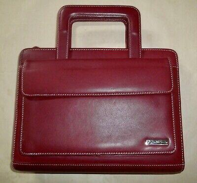 Franklin Covey Classic Binder Organizer Full Grain Leather Retractable Handles