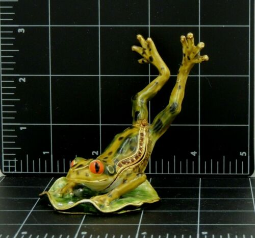 Frog Leaping Lily Pad Figurine Trinket Latch Box Enameled Iron or brass