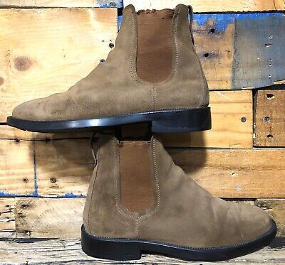 J Crew Suede Ankle Chelsea Boots Tan Brown Size 8 US Made In Italy