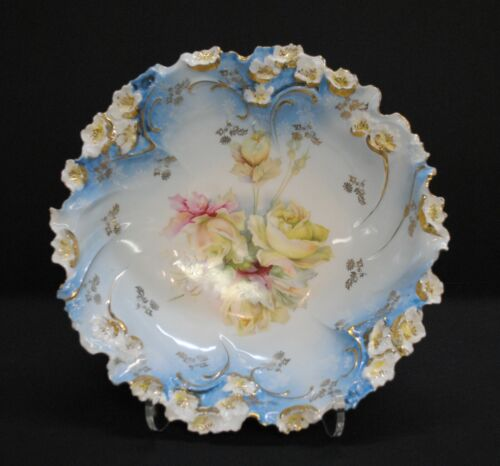 """Antique Ornate Blue Floral Bowl with Ruffled Edges, 2.5""""x10.5"""""""
