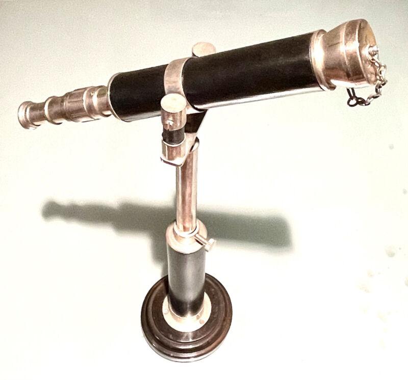 Vintage India Maritime Nautical Desk TableTop Telescope Optic Magnifier Spyglass