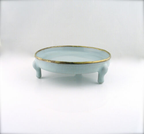 Antique Chinese Blue Crackled Glazed Brush Washer With A Yellow Gold Rim