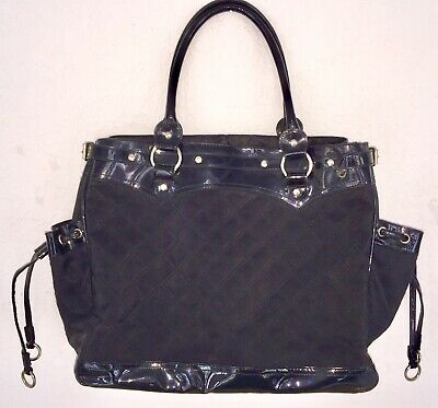 ULTRA-CHIC LULU BLACK QUILTED/PATENT LEATHER TOTE BAG W/CHANEL VIBE--FREE (Black Quilted Patent Leather Tote Bag)