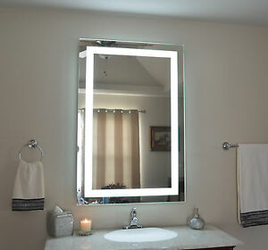 32 w x 48 t lighted vanity mirror wall mounted led makeup mirror. Black Bedroom Furniture Sets. Home Design Ideas