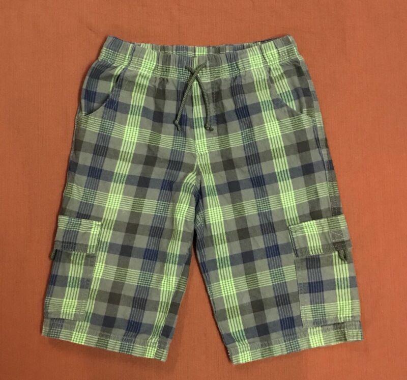 L.L.Bean Boy 16 Plaid Cargo Flannel SHORT Olive Green Elastic Waist 100% Cotton