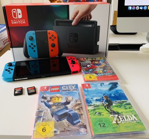 Nintendo Switch Spielekonsole mega Paket Super Mario Odyssey Zelda