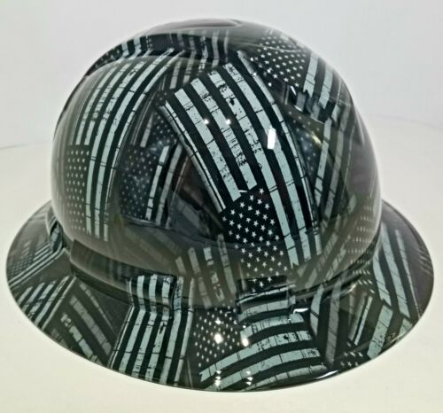 NEW FULL BRIM Hard Hat custom hydro dipped AMERICAN FLAG BLACK OPS RECON EDITION 1
