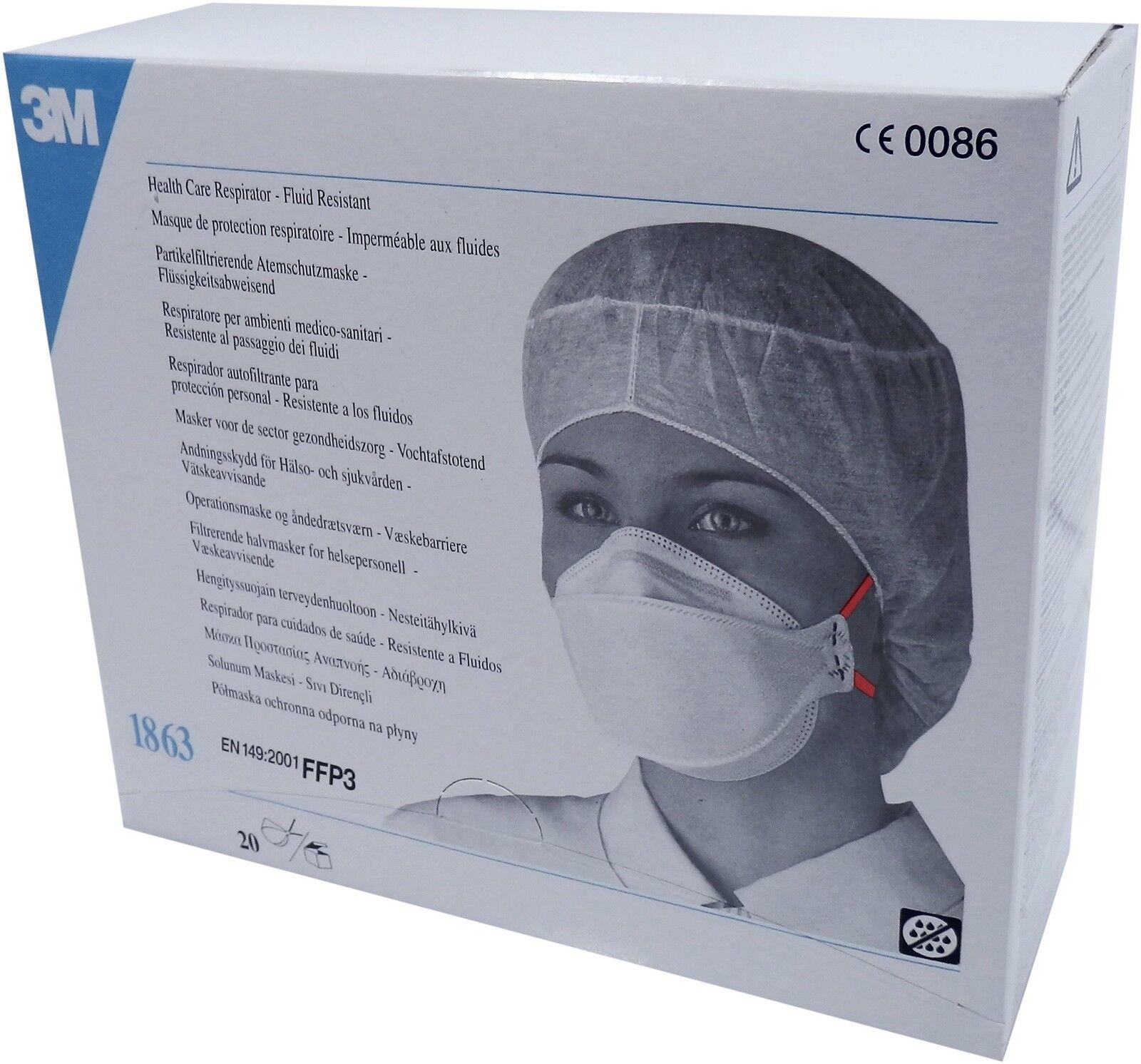 Box - 20 3M 1863 FFP3 Fluid resistant Respirator dust mask EN149:2001 Exp2014/05
