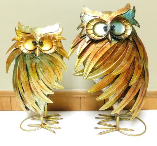 2 Vintage Metal Owl Art Decorations Sculptures