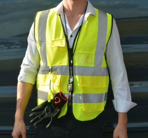 """High Visibility Safety Reflective Vest with pockets and Zipper (Yellow, 2"""" tape)"""