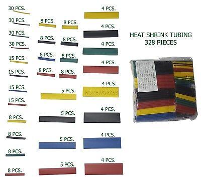 328 Pcs. 21 Polyolefin Heat Shrink Tubing Tube Sleeve Wire Assortment 8 Size