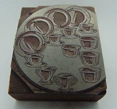 Vintage Printing Letterpress Printers Block Dishes Plates Cups