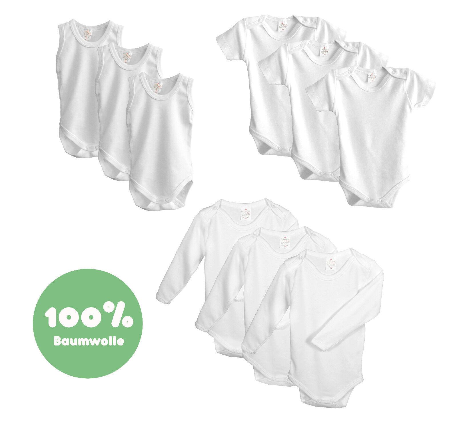 Baby Body 3er Set Pack Weiß Langarm Kurzarm Ärmellos 56/62/68/74/80/86/92/98