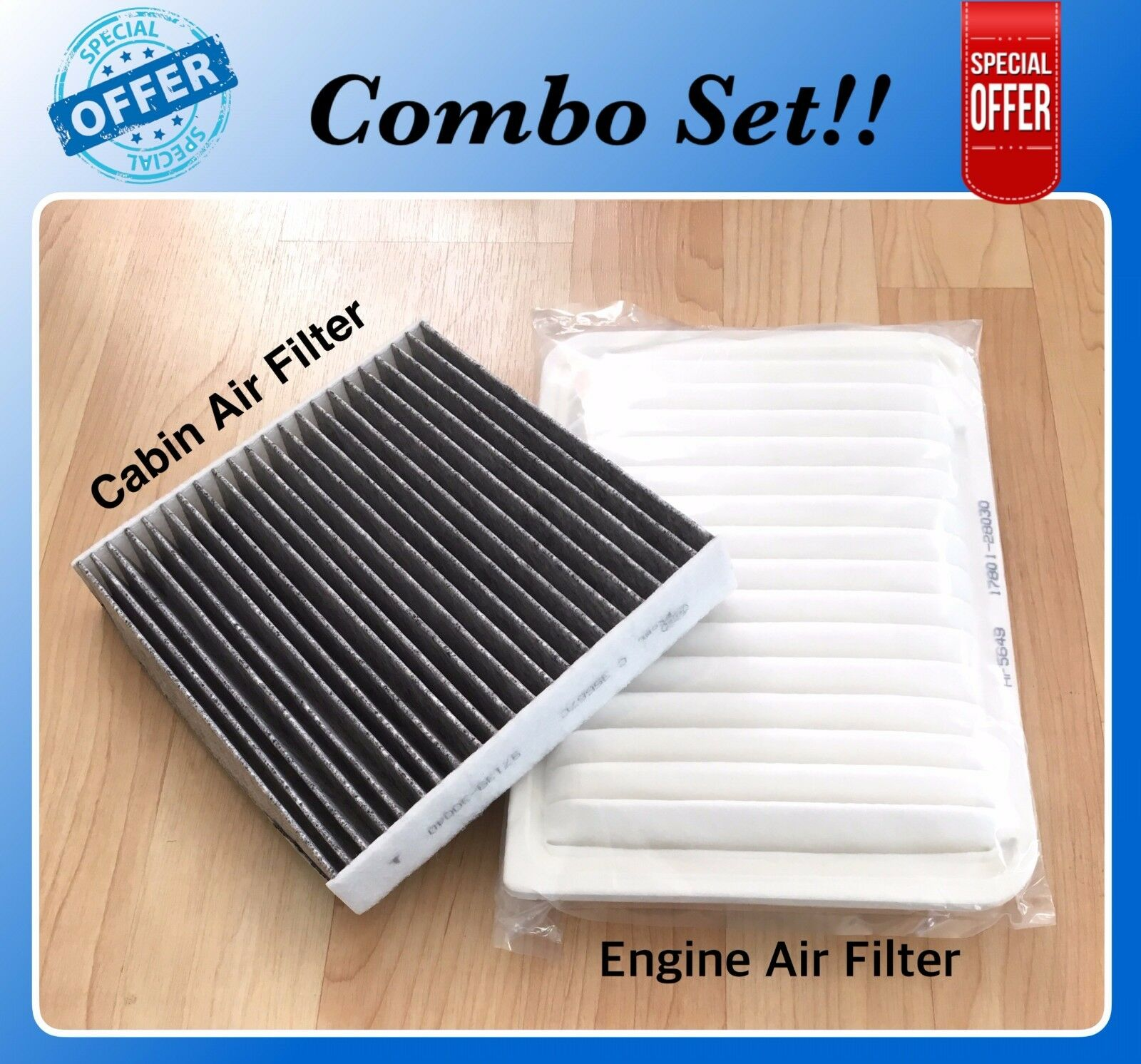 Engine & CARBONIZED Cabin Air Filter For CAMRY VENZA 4cyl 07-17 A5649 C35667