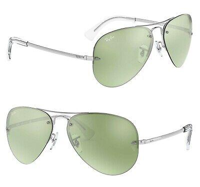 RAY-BAN Aviator Highstreet Sunglasses RB3449 904330 Silver Green Mirror (Ray Ban Green Mirror Lens)