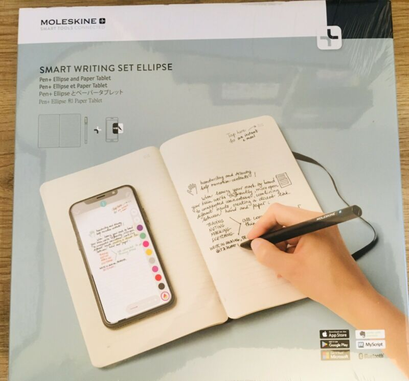 New Sealed Moleskine Smart Pen Writing Set Ellipse: Pen+ Ellipse & Paper Tablet