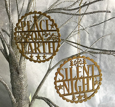 Gold Glitter Christmas Tree Decoration Sign Vintage Silent Night Gisela Graham](Gisela Graham Halloween Decorations)