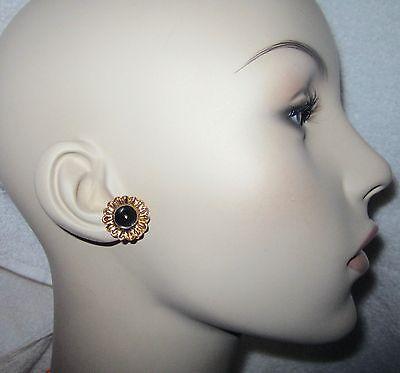 MMA NY Museum Earrings Gold Plated Flower Black Enamel Smithsonian Clip --Mint!
