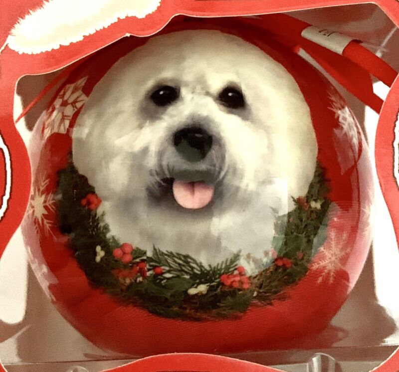 "NEW IN BOX 3"" SHATTERPROOF BALL BICHON FRISE CHRISTMAS ORNAMENT"