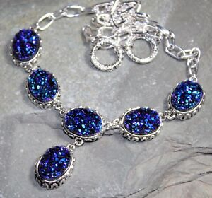 Silver Vintage Style Royal Blue Rainbow Titanium Druzy Necklace WN10412