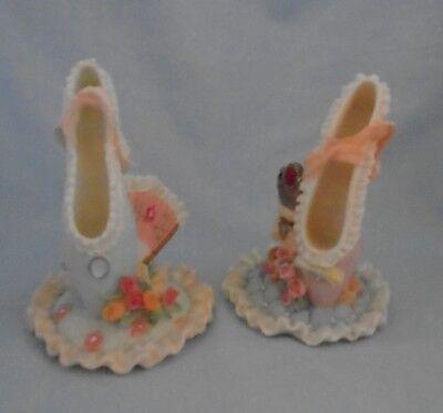 2 Ornamental Slippers Blue + Fan & Flowers Pink + Stool & Crown Apr Height 14 cm